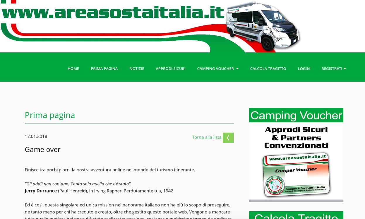 areasostaitalia.it game over