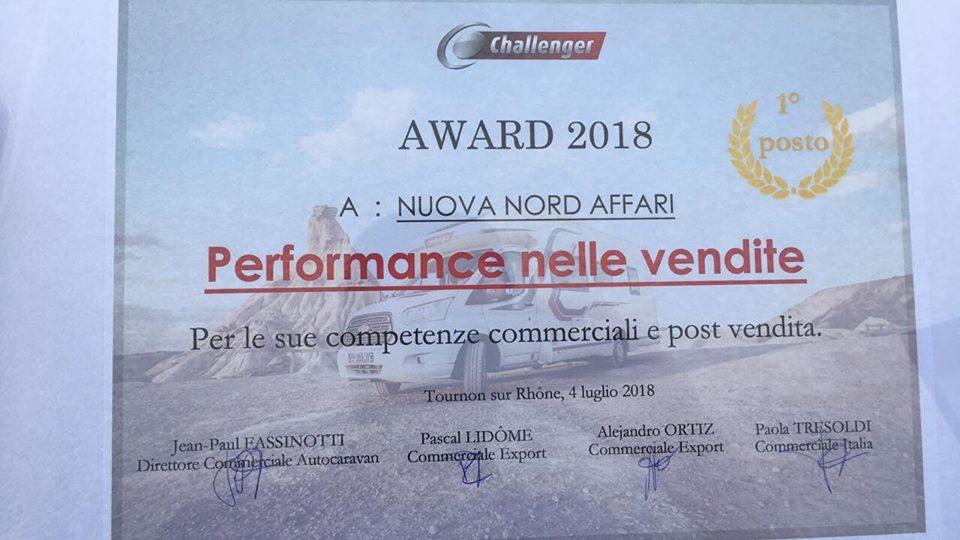 Nord Affari premiata per le vendite di Challenger