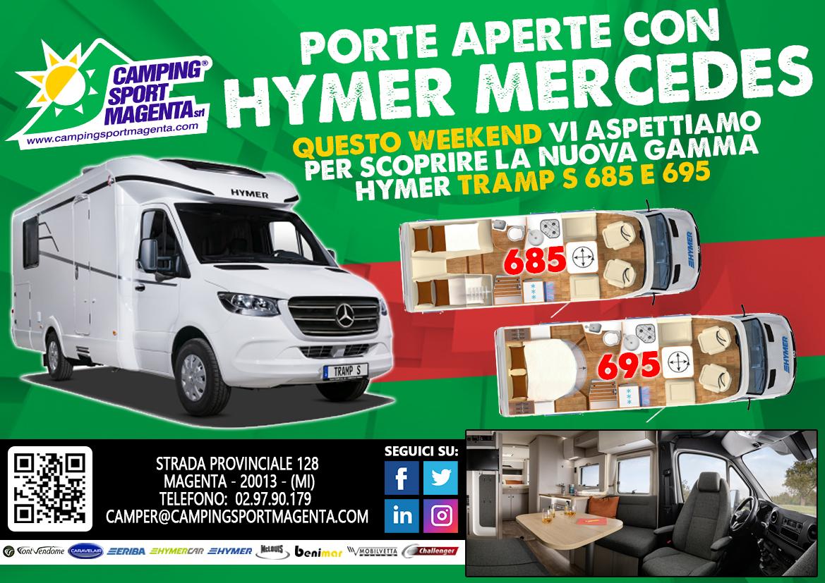 Hymer Tramp S685 e S695 questo fine settimana da Camping Sport Magenta