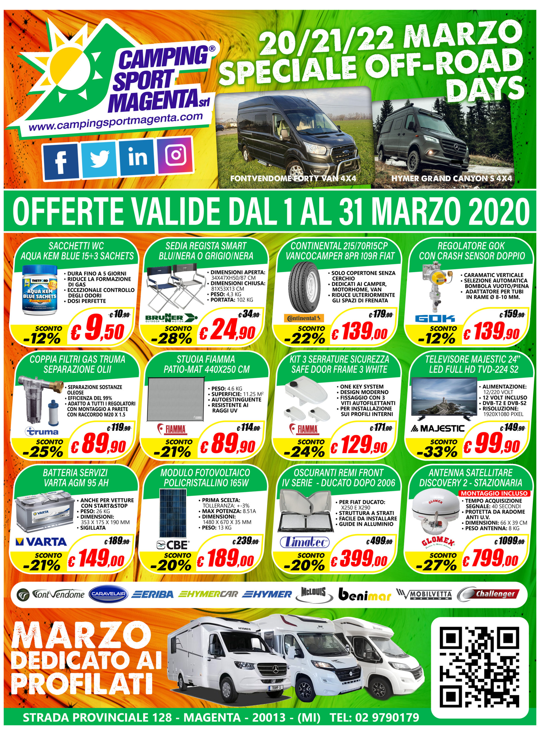 Camping Sport Magenta le offerte del mese di Marzo 2020
