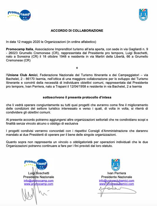 accordo Promocamp Italia e Unione Club Amici