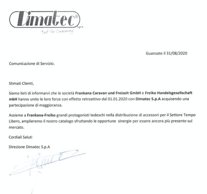 Frankana e Freiko accordo con Dimatec