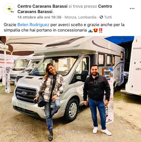 Belen Rodriguez noleggia il camper da Centro Caravan Barassi
