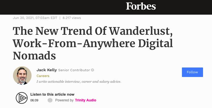 da Forbes uno sguardo alla nuova tendenza dei nomadi digitali